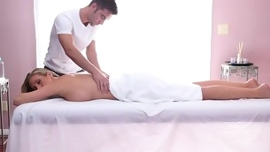 Fascinating honey gets her sexy body massage and drilled