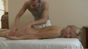 Horny chick can't wait to have her massage and vagina filled