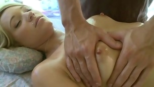 Delighting a lewd bawdy cleft during sensual oil massage