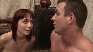 Schoolgirl struggles with a older dick annexe huge for her