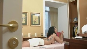 Hawt bombshell gets wild doggystyle after massage