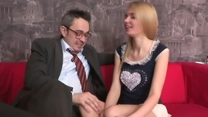 Old teacher is ravishing sweet sweetheart's chaste vagina