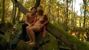 Oversexed and slim old bag acquires nailed by her stud next to the tree