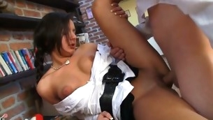 Pretty old teacher is drilling sweet playgirl foreign behind