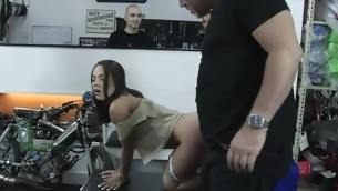 Hot glamorous girl dominated with the addition of fucked in the butt off out of one's mind unmerciful landlord.