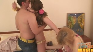 2 teens with sex-toys ragging a lascivious beggar