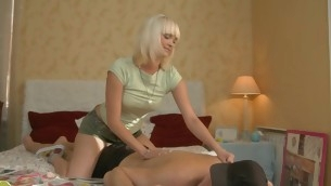 Blond with shaved cunt teases her boyfriend